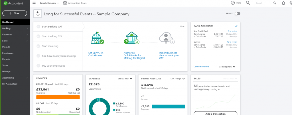 Quickbooks-demo-company-screenshot